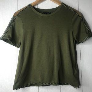 Topshop Olive Green Net Sleeve Detailed Crop Top!